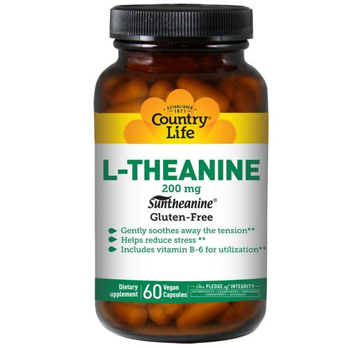 Country Life, L-Theanine, 200 mg, 60 Vegan Caps فوائد