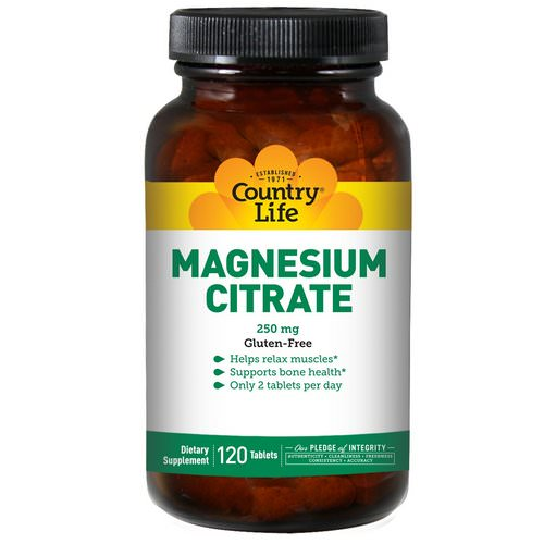 Country Life, Magnesium Citrate, 250 mg, 120 Tablets فوائد