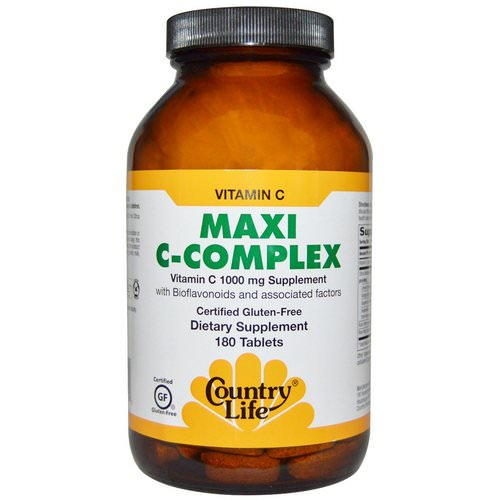 Country Life, Maxi C-Complex, 180 Tablets فوائد