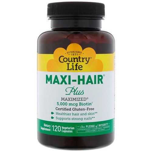 Country Life, Maxi Hair Plus, 5,000 mg, 120 Vegetarian Capsules فوائد