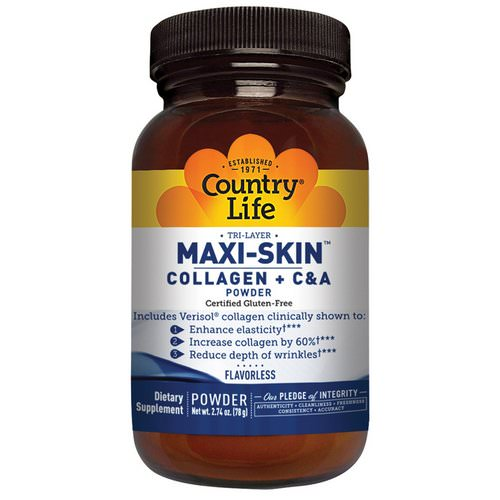 Country Life, Maxi-Skin Collagen + C & A Powder, Flavorless, 2.74 oz (78 g) فوائد