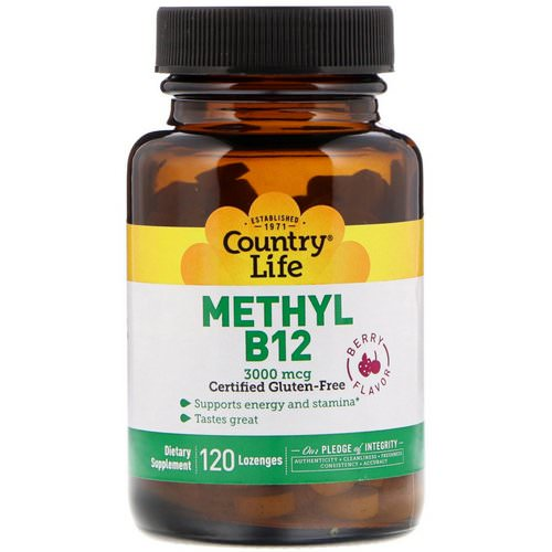 Country Life, Methyl B12, Berry Flavor, 3,000 mcg, 120 Lozenges فوائد
