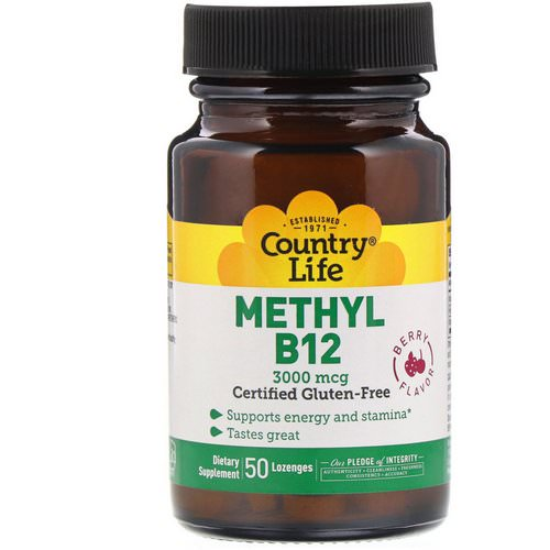 Country Life, Methyl B12, Berry Flavor, 3,000 mcg, 50 Lozenges فوائد