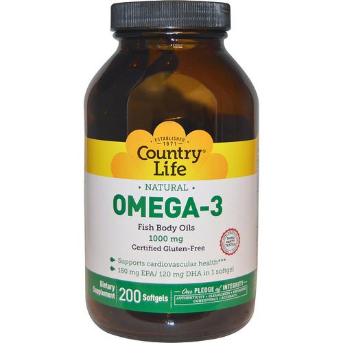 Country Life, Omega-3, 1000 mg, 200 Softgels فوائد