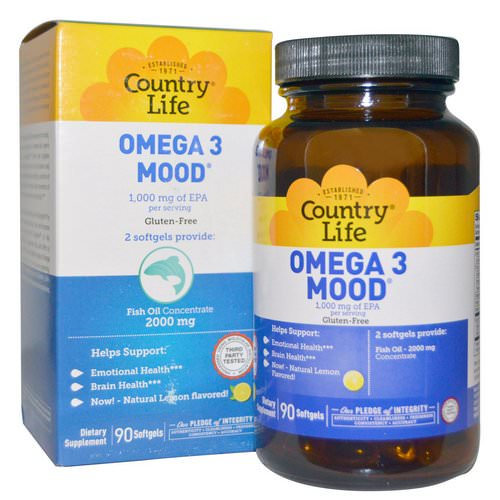 Country Life, Omega 3 Mood, Natural Lemon Flavored, 90 Softgels فوائد