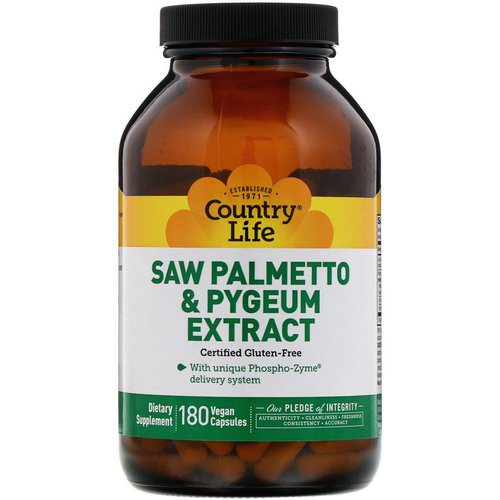Country Life, Saw Palmetto & Pygeum Extract, 180 Vegan Capsules فوائد