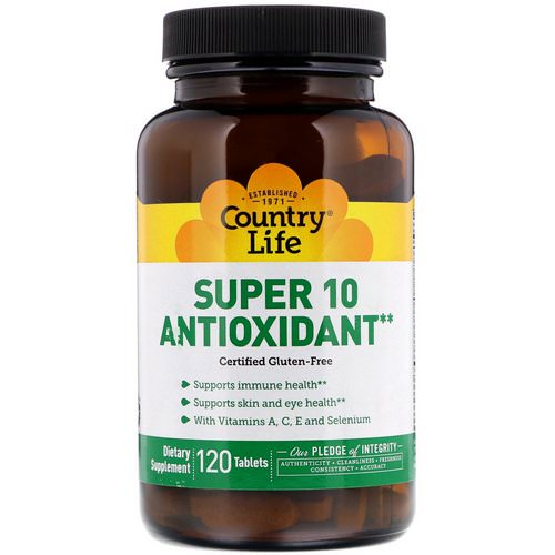 Country Life, Super 10 Antioxidant, 120 Tablets فوائد