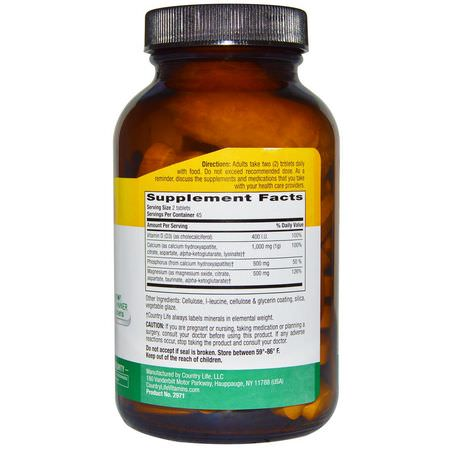 Country Life, Target-Mins, Calcium Magnesium Complex, with Vitamin D3, 90 Tablets:الكالسي,م ,المعادن
