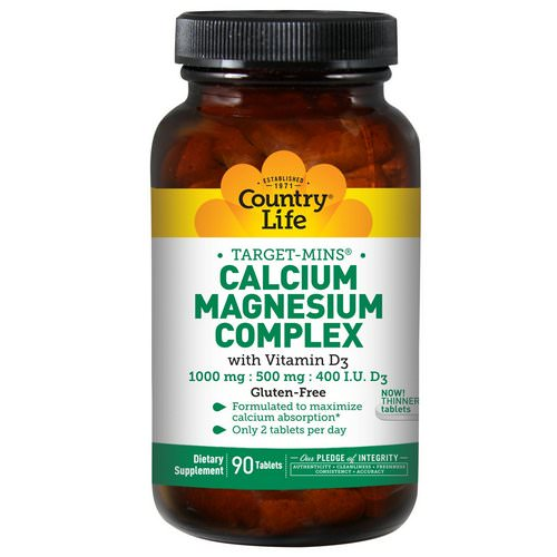 Country Life, Target-Mins, Calcium Magnesium Complex, with Vitamin D3, 90 Tablets فوائد