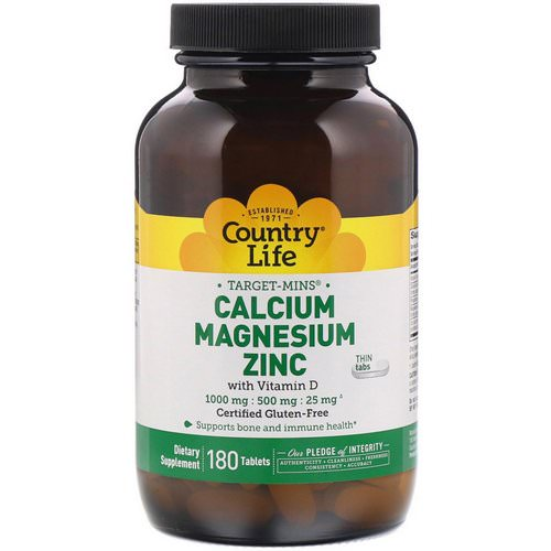 Country Life, Target-Mins, Calcium Magnesium Zinc, 1000 mg / 500 mg / 25 mg, 180 Tablets فوائد