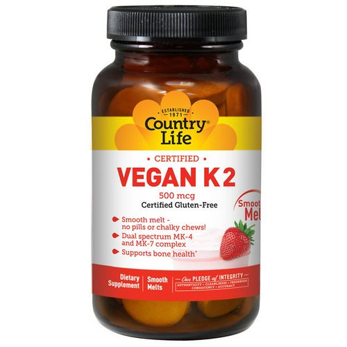 Country Life, Vegan K2, Strawberry, 500 mcg, 60 Smooth Melts فوائد