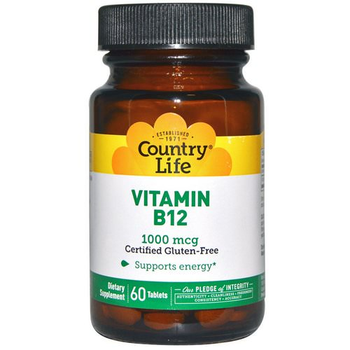 Country Life, Vitamin B12, 1000 mcg, 60 Tablets فوائد