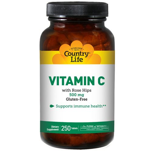 Country Life, Vitamin C, 500 mg, 250 Tablets فوائد