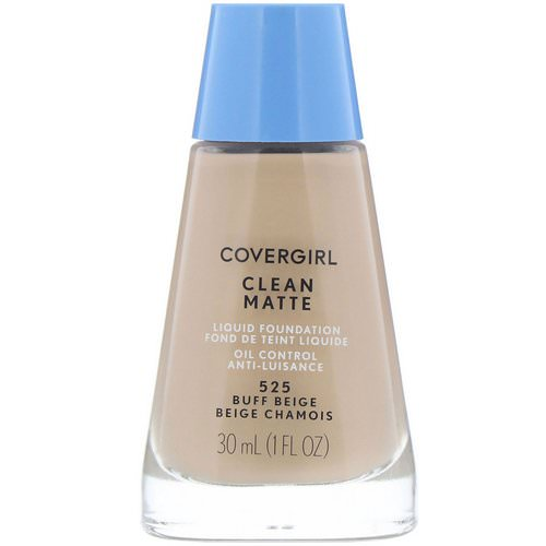 Covergirl, Clean Matte Liquid Foundation, 525 Buff Beige, 1 fl oz (30 ml) فوائد