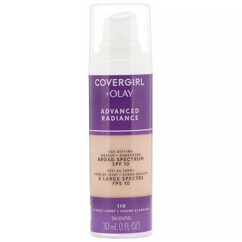 Covergirl, Olay Advanced Radiance, Age-Defying Makeup, SPF 10, 110 Classic Ivory, 1 fl oz (30 ml) فوائد