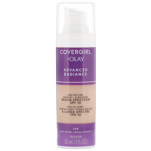 Covergirl, Olay Advanced Radiance, Age-Defying Makeup, SPF 10, 125 Buff Beige, 1 fl oz (30 ml) فوائد
