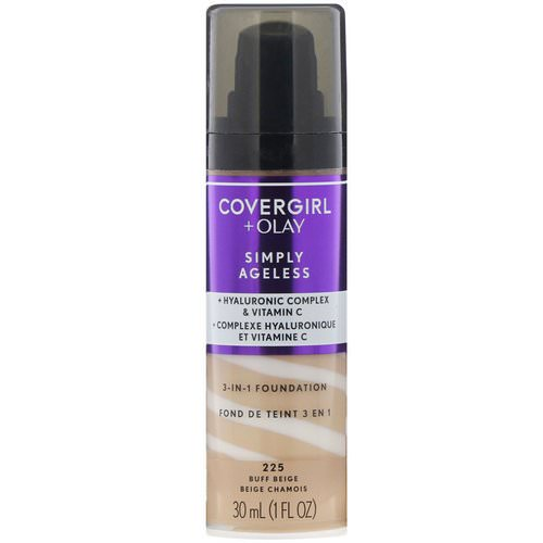 Covergirl, Olay Simply Ageless, 3-in-1 Foundation, 225 Buff Beige, 1 fl oz (30 ml) فوائد