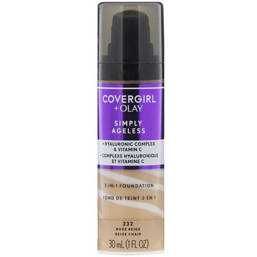 Covergirl, Olay Simply Ageless, 3-in-1 Foundation, 232 Nude Beige, 1 fl oz (30 ml) فوائد