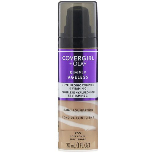 Covergirl, Olay Simply Ageless, 3-in-1 Foundation, 255 Soft Honey, 1 fl oz (30 ml) فوائد