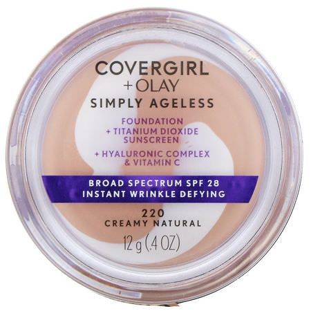 Covergirl, Olay Simply Ageless Foundation, 220 Creamy Natural, .4 oz (12 g):Foundation, وجه