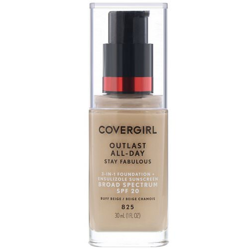 Covergirl, Outlast All-Day Stay Fabulous, 3-in-1 Foundation, 825 Buff Beige, 1 fl oz (30 ml) فوائد