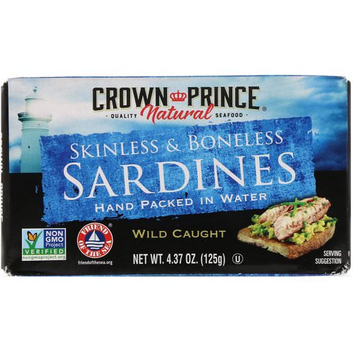 Crown Prince Natural, Skinless & Boneless Sardines, In Water, 4.37 oz (125 g) فوائد