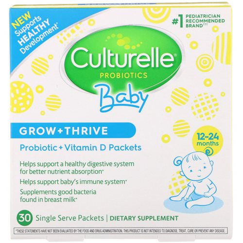 Culturelle, Probiotics, Baby, Grow + Thrive, Probiotics + Vitamin D Packets, 12-24 Months, 30 Single Serve Packets فوائد