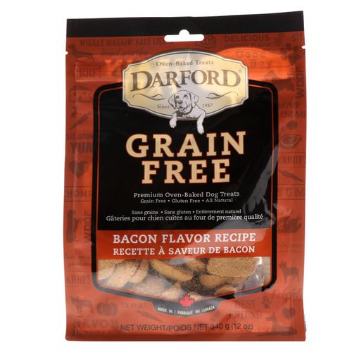 Darford, Grain Free, Premium Oven-Baked Dog Treats, Bacon Flavor Recipe, 12 oz (340 g) فوائد
