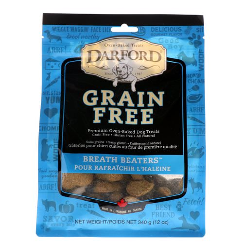 Darford, Grain Free, Premium Oven-Baked Dog Treats, Breath Beaters, 12 oz (340 g) فوائد