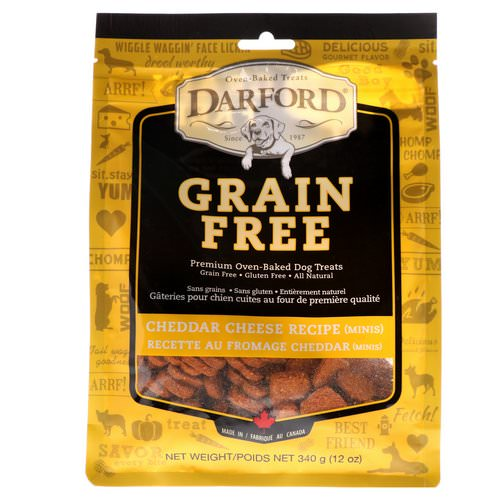 Darford, Grain Free, Premium Oven-Baked Dog Treats, Cheddar Cheese, Minis, 12 oz (340 g) فوائد