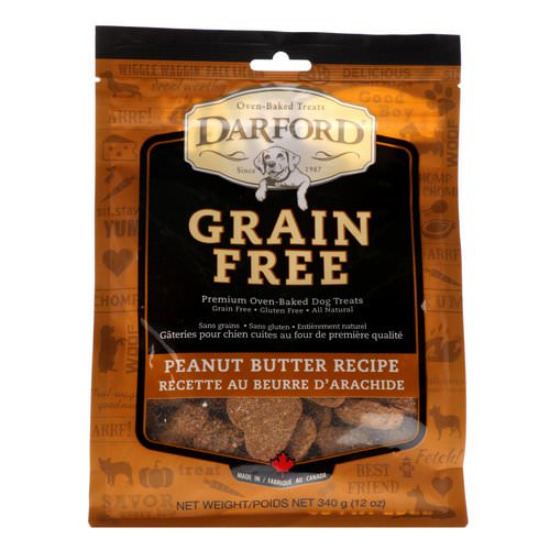 Darford, Grain Free, Premium Oven-Baked Dog Treats, Peanut Butter Recipe, 12 oz (340 g) فوائد