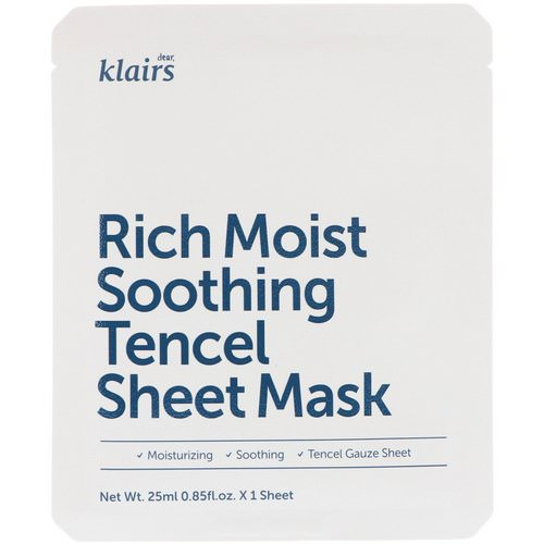 Dear, Klairs, Rich Moist Soothing Tencel Sheet Mask, 1 Mask, 0.85 fl oz (25 ml) فوائد