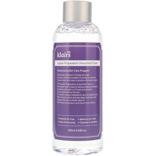 Dear, Klairs, Supple Preparation Unscented Toner, 6.08 fl oz (180 ml) فوائد