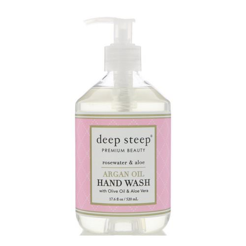 Deep Steep, Argan Oil Hand Wash, Rosewater & Aloe, 17.6 fl oz (520 ml) فوائد