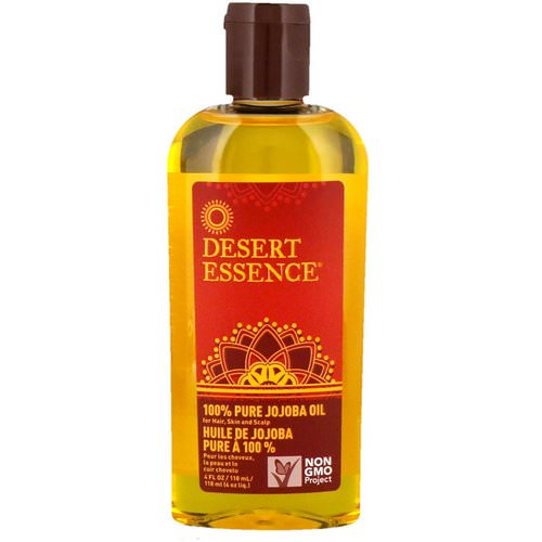 Desert Essence, 100% Pure Jojoba Oil, For Hair, Skin and Scalp, 4 fl oz (118 ml) فوائد