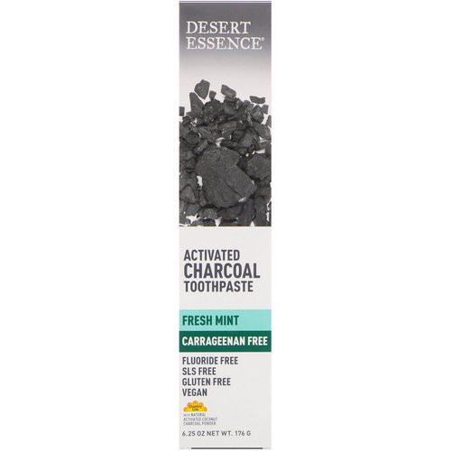 Desert Essence, Activated Charcoal Toothpaste, Fresh Mint, 6.25 oz (176 g) فوائد