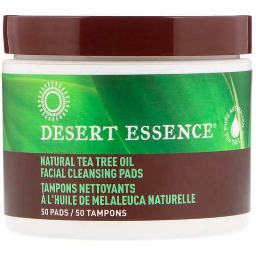 Desert Essence, Natural Tea Tree Oil Facial Cleansing Pads, 50 Pads فوائد
