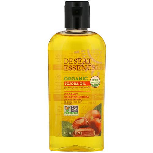 Desert Essence, Organic Jojoba Oil for Hair, Skin and Scalp, 4 fl oz (118 ml) فوائد