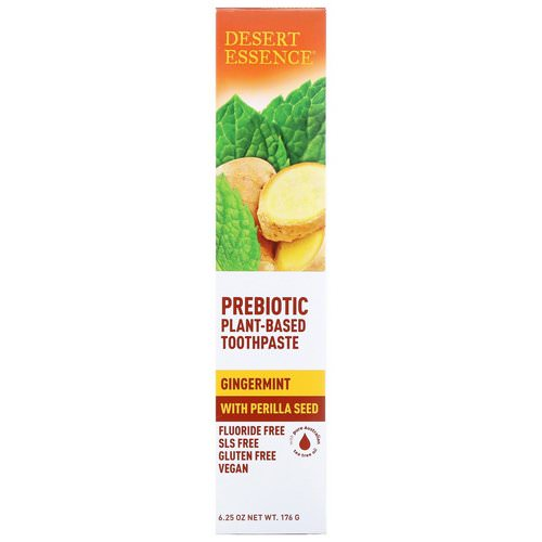 Desert Essence, Prebiotic, Plant-Based Toothpaste, Gingermint, 6.25 oz (176 g) فوائد