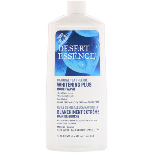 Desert Essence, Whitening Plus Mouthwash, Cool Mint, 16 fl oz (480 ml) فوائد