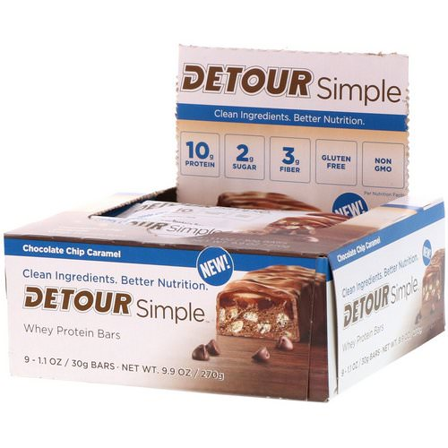 Detour, Simple, Whey Protein Bars, Chocolate Chip Caramel, 9 Bars, 1.1 oz (30 g) Each فوائد