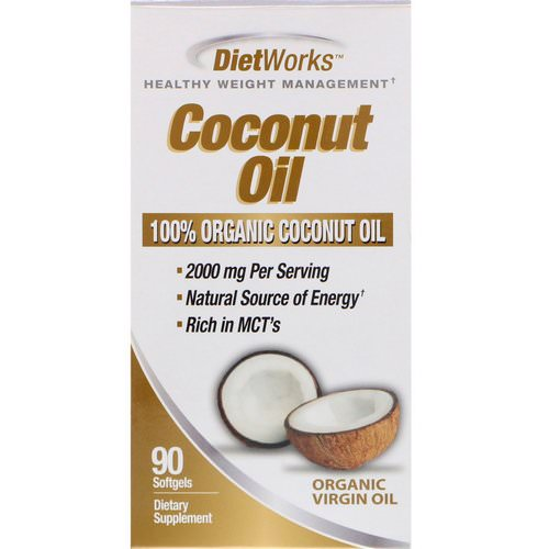 DietWorks, Coconut Oil, 90 Softgels فوائد