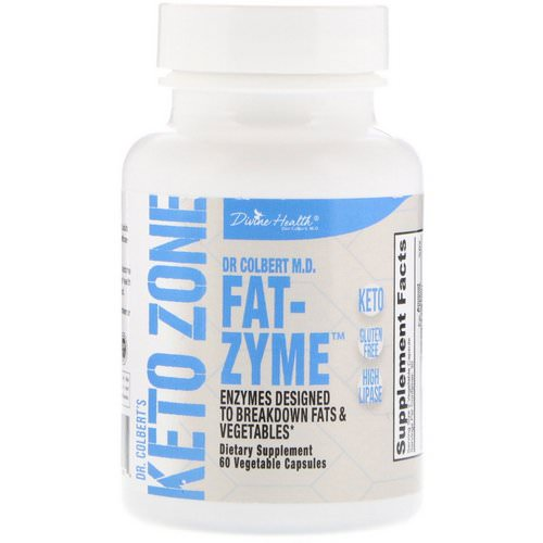 Divine Health, Dr. Colbert's Keto Zone, Fat-Zyme, 60 Vegetable Capsules فوائد