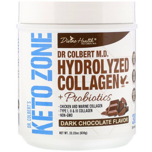 Divine Health, Dr. Colbert's Keto Zone, Hydrolyzed Collagen, Dark Chocolate, 22.22 oz (630 g) فوائد