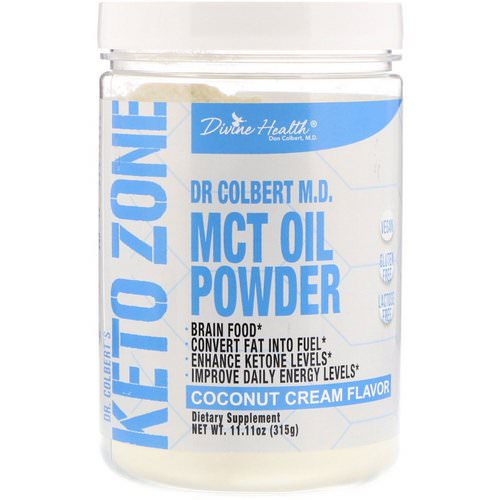 Divine Health, Dr. Colbert's Keto Zone, MCT Oil Powder, Coconut Cream Flavor, 11.11 oz (315 g) فوائد