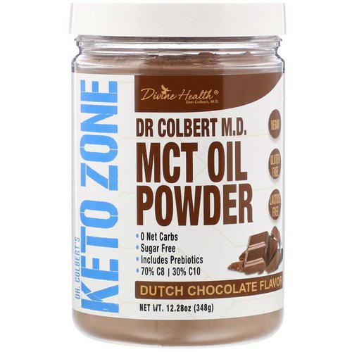 Divine Health, Dr Colbert's Keto Zone, MCT Oil Powder, Dutch Chocolate Flavor, 12.28 oz (348 g) فوائد