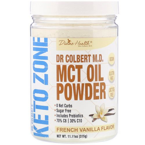 Divine Health, Dr. Colbert's Keto Zone, MCT Oil Powder, French Vanilla, 11.11 oz (315 g) فوائد