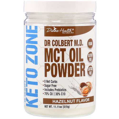 Divine Health, Dr. Colbert's Keto Zone, MCT Oil Powder, Hazelnut Flavor, 11.11 oz (315 g) فوائد