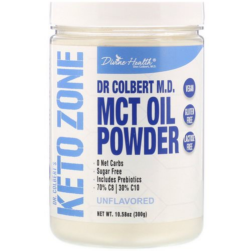 Divine Health, Dr. Colbert's Keto Zone, MCT Oil Powder, Unflavored, 10.58 oz (300 g) فوائد