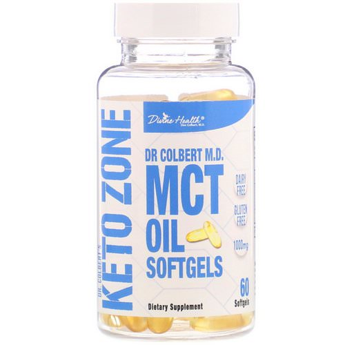Divine Health, Dr. Colbert's Keto Zone, MCT Oil Softgels, 1,000 mg, 60 Softgels فوائد